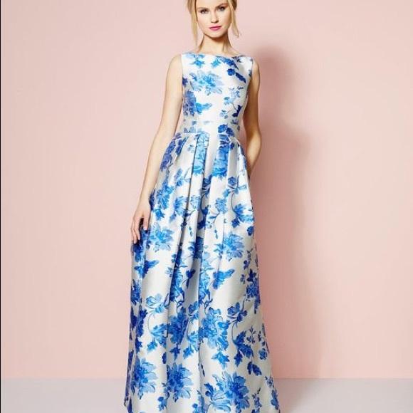 Eliza J Blue Floral Print Gown W Pockets Size 6   Poshmark